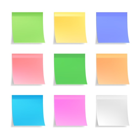 Collection of 3d vector sticky notes or post-its in nine different pastel colors on white with curled bottom edges and shadow  blank for your message or text