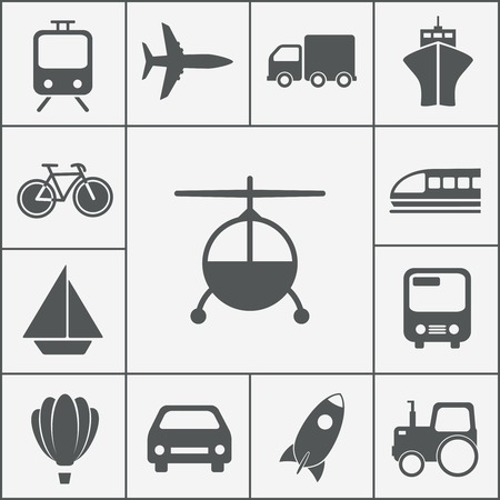 transport and transportation icons vector set from rocket to bicycle Vector