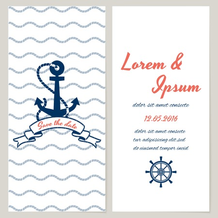 Nautical style wedding invitation and save the date templates with copyspace for your text  rope borders and an anchor on a wave background and vintage ships wheel as decoration Vector