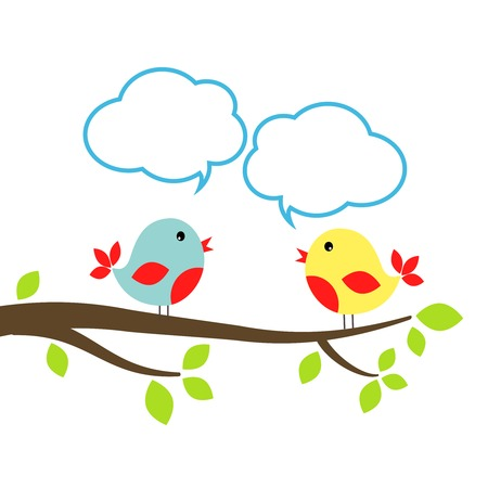 communication concept: Two little birds with speech bubbles, communication concept Illustration