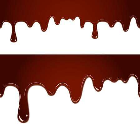 녹은 초콜렛을 흐르는 벡터 원활한 흰색 배경에 고립