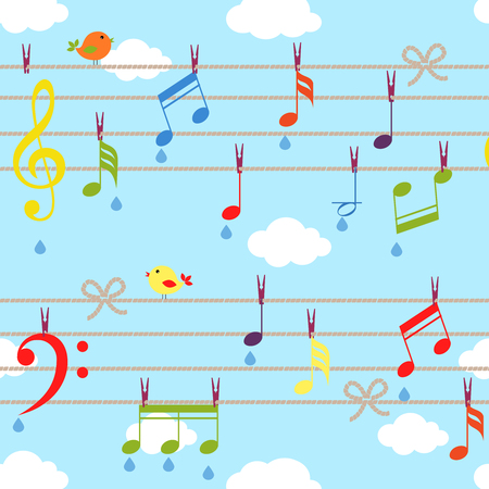 suspended: vector birds and music background with clouds on blue