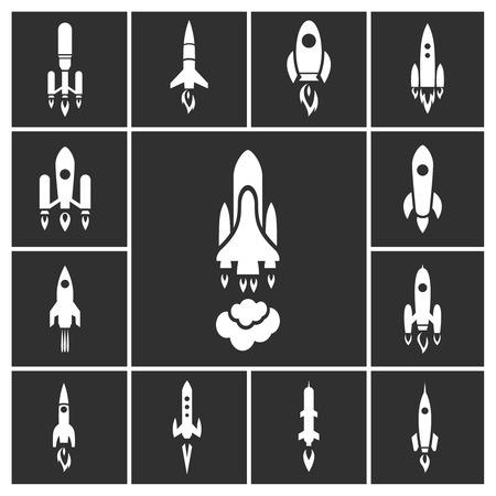mosca caricatura: Iconos blancos de cohetes fijados