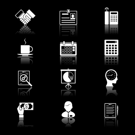 tog: business and time icons: handshake, chart, head and coffee cup