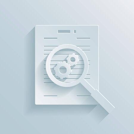 validez: Icono de papel que representa la preparaci�n de un contrato comercial con una lupa con ruedas dentadas se cierne sobre un documentos que muestran un trabajo en progreso