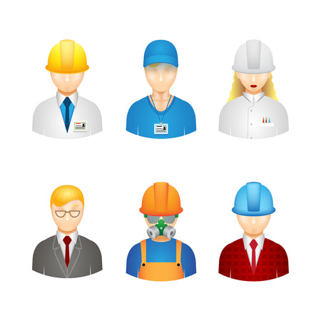 3d manager: 3d vector workers icons: builder, manager, engineer and technologist Illustration