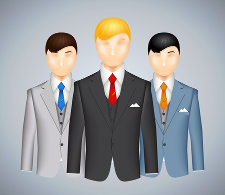 dress code: Trio of businessmen in suits each wearing a different colored outfit with a blond haired man in the foreground  vector illustration