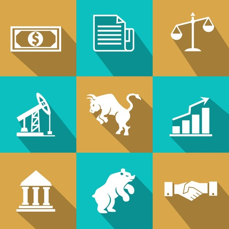 Vector financial icons in trendy flat style with dollar bills  certificates  scales  oil and mining futures  industry  bear  bull  bar graph  chart   bank  and business handshake on turquoise and gold Vector