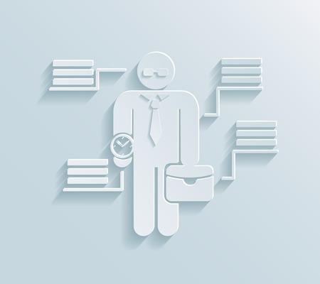 orologio da polso: Appartamento icona carta d'affari che indossa tuta con grande orologio da polso e valigetta e quattro caselle di testo collegate