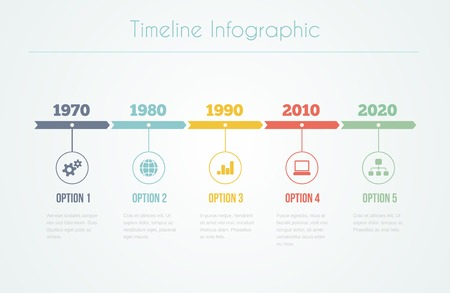 Timeline Infographic with diagrams and text in retro style Illustration