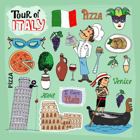 gondolier: Tour of Italy illustration with landmarks including the leaning Tower of Pisa  Venice gondola  Colosseum  a gondolier  chef and food icons of a pizza and pasta  wine olives and the Italian flag