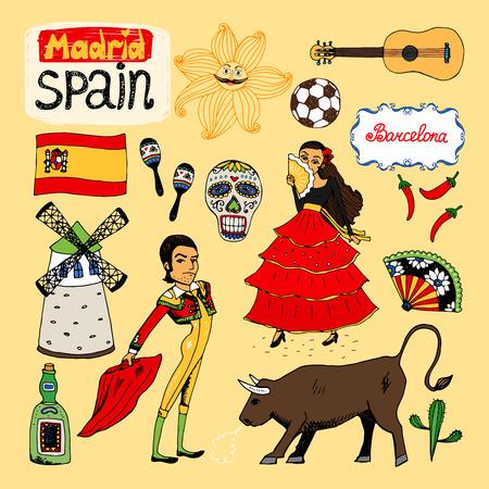 donna spagnola: Set di punti di riferimento e le icone di Spagna con un matador e il toro a mano snocciola cranio ballerina di flamenco fan mulino a vento chitarra liquori e la bandiera spagnola