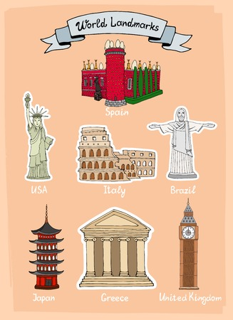 World Landmarks hand-drawn icon set with Castello de Mendoza in Spain  Statue of Liberty in USA  Colosseum in Italy  Statue of Christ in Brazil  Palace in Japan  Parthenon in Greece and Big Ben in UK Vector