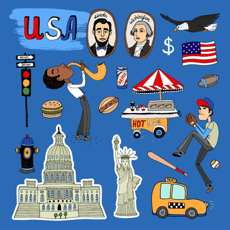 sex traffic: Vector hand-drawn USA Landmarks - the White House  baseball player  hot dog stand  saxophone player  traffic lights  Washington  Lincoln  flag  dollar  eagle  yellow NY taxi cab and Statue of Liberty