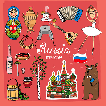 balalaika: Landmarks of Russia with St. Basils Cathedral, balalaika, birch, samovar and bear vector eps10 illustration