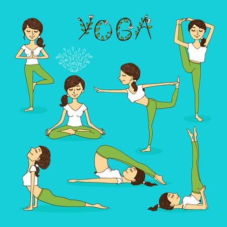 Vector hand-drawn yoga poses with a beautiful serene young woman in various balancing positions  prayer  meditation and the lotus position in a health and fitness  wellness and spirituality concept