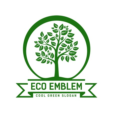 eco slogan: Vector Eco emblem with a leafy green tree enclosed within a circle with a ribbon banner containing the text - Eco Emblem - and - Cool Green Slogan - below Illustration