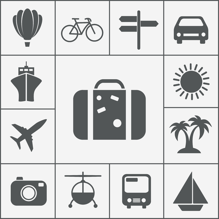 Vector silhouette travel and vacation icon set with a hot air balloon  cruise liner  bicycle  car  plane  bus  helicopter  signpost  luggage  palm trees  camera  sun and yacht Vector