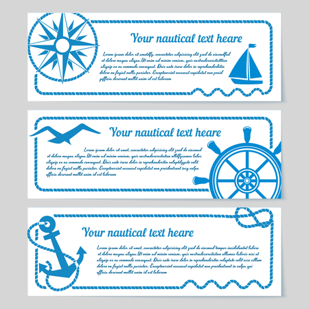 themed: Set of nautical themed horizontal banners with copyspace for text featuring a compass  yacht  seagull  vintage ships wheel and anchor with rope frames