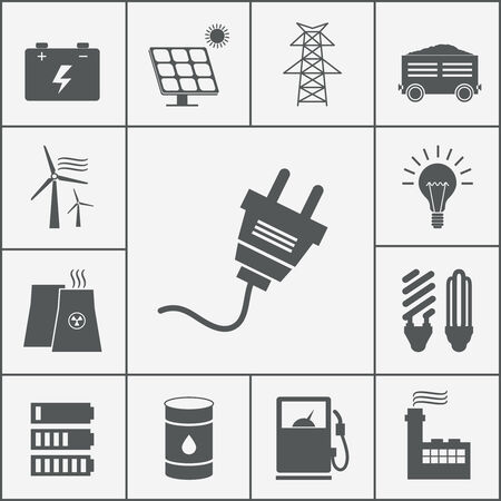 smoke stack: Vector Electricity and Power icon set, ecological and traditional energy sources Illustration