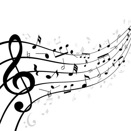 partition musique: Les notes de musique sur une portée ou le personnel composé de cinq lignes courbes dans la distance avec la perspective de diminution et une clef au premier plan avec des notes éparses noir et blanc illustration