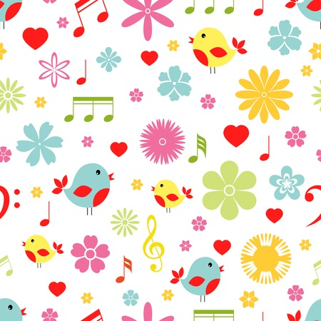 tweeting: Colorful spring Flowers  birds and music notes seamless background pattern in square format suitable for tiles  fabric and wallpaper