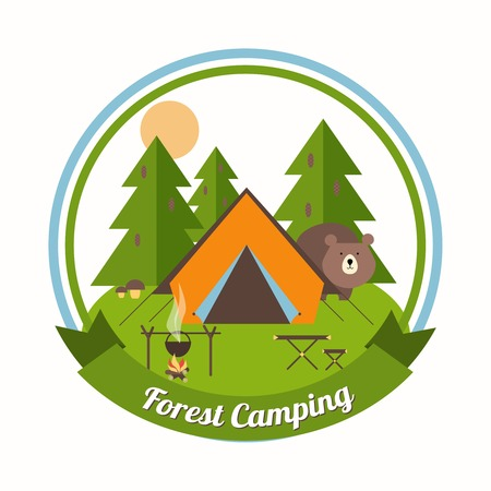 peering: Forest Camping circular emblem with a curious bear peering around a tent in a pine forest with green trees with a campfire  table and chair and a ribbon banner with the text - Forest Camping - below