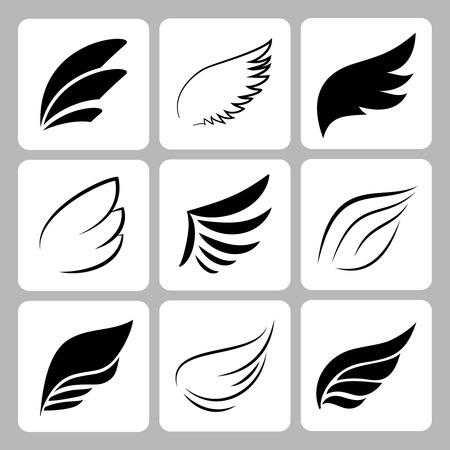 ingesteld op een witte achtergrond, vector eps10 vleugels
