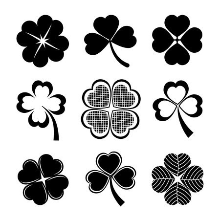 vector icons of shamrock and four leaf clover collection for St Patrick day Vector