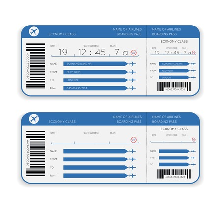 aereo: vettore aereo carta d'imbarco biglietto isolato su sfondo bianco