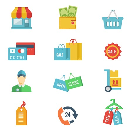 shop assistant: Flat design vector shopping icons with a store front  wallet  credit cards  bags  sale  open and closed signs  salesperson or customer  delivery  basket  24 hour icon  and sale tags on white