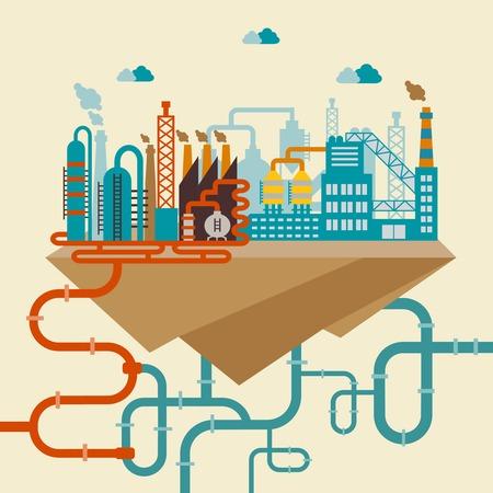 Ilustración de una fábrica para la fabricación de productos o la planta de refinería para procesar los recursos naturales, con una red de tuberías conectadas a la distribución Ilustración de vector