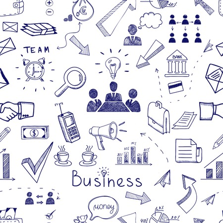 randomly: Doodle sketch business icon seamless pattern with financial  teamwork  management  graphs and charts  handshake  brainstorming  documents and mail icons scattered randomly on white