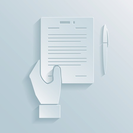 legality: Paper icon of a hand holding a business offer  agreement or contract with a pen alongside for signing the deal