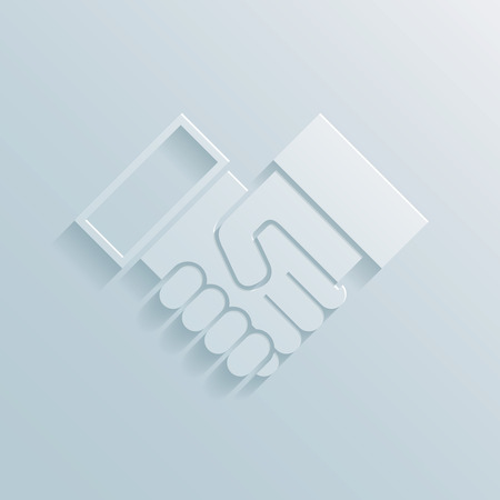 hand holding paper: Paper handshake icon depicting a business deal  agreement  partnership  greeting or congratulations