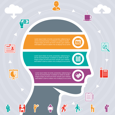 mental work: Infographics Vector Concept, human head and variety of tasks
