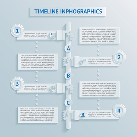 continuation: vector paper timeline infographics, labels with text, points and icons