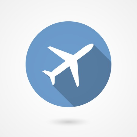 aeronautics: Trendy airplane icon with the white silhouette of a plane climbing on a blue circle depicting the sky with a long shadow conceptual of air travel  flat style vector illustration