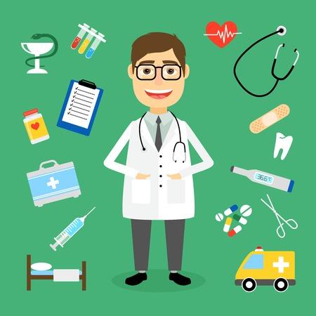 erste hilfe koffer: L�chelnd, gl�cklich m�nnlichen Arzt mit Brille durch medizinische Symbole mit einem Krankenwagen Stethoskop Erste-Hilfe-Kit Injektionsspritze Reagenzgl�ser Grafik Herzschlag Puls Herztabletten Tabletten umgeben