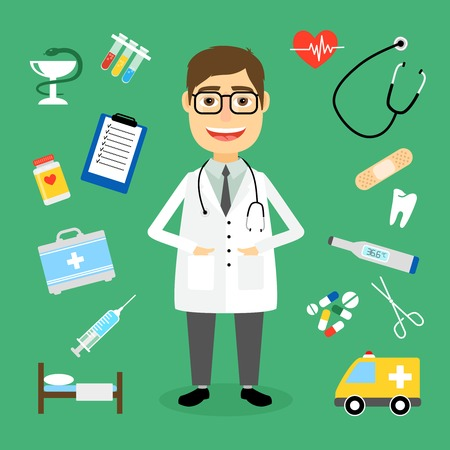 first aid kit: Smiling happy male doctor with glasses surrounded by medical icons with an ambulance  stethoscope  first aid kit  hypodermic  syringe  test  tubes  chart  heartbeat  pulse  heart  pills  tablets Illustration