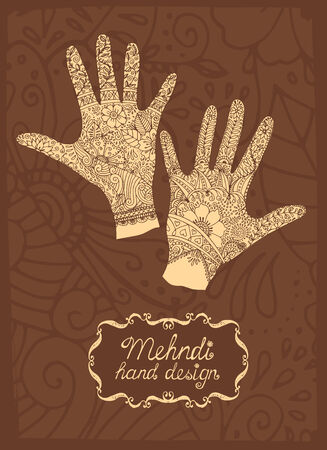toilette: Mehndi Hand design illustration with two hands showing intricate patterns created using mehndi or henna paste to stain the skin