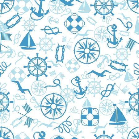 해상 또는 해양 생명 부표 로프 매듭 요트 세마포어 플래그 갈매기와 벽지와 패브릭에 적합한 사각형 형식 빈티지 배송 바퀴 나침반 앵커와 원활한 패