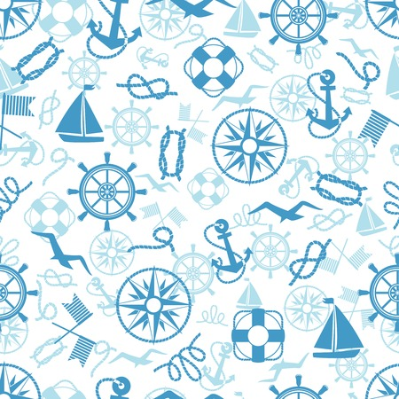 Nautical or marine themed seamless pattern with anchors  life buoys  ropes  knots  compass  yacht  semaphore flags  seagulls and vintage ships wheels in square format suitable for wallpaper and fabric