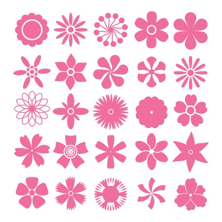 Set of vector flowers simple shapes on white background