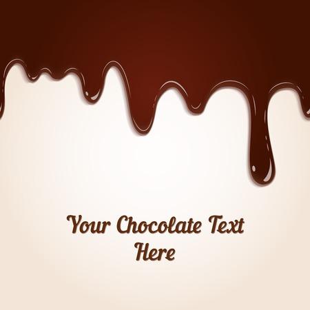 Antecedentes de goteo derretido rica leche marrón chocolate en un alimento y dulces telón de fondo ilustración dimensional sensual boca agua con copyspace Ilustración de vector