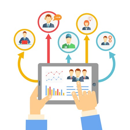 Remote business management concept with a businessman holding a tablet showing analytics and graphs connected to a diverse team of people on a conferencing video link for brainstorming and discussion