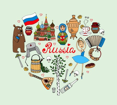Amo Rusia vectorial corazón ilustración con iconos culturales como una muñeca babushka bailarina bolshoi oso vodka Iglesia de San Basils balalaika samovar con acordeón té y la bandera en forma de corazón