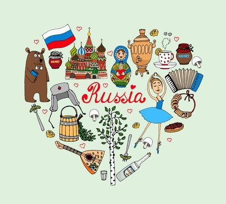 bandera rusia: Amo Rusia vectorial corazón ilustración con iconos culturales como una muñeca babushka bailarina bolshoi oso vodka Iglesia de San Basils balalaika samovar con acordeón té y la bandera en forma de corazón