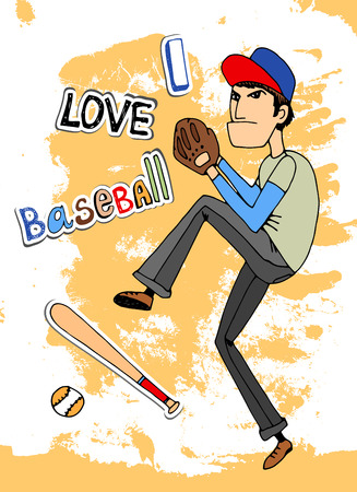 Male baseball player in a - I Love baseball - card design with a fielder about to throw a ball  vector illustration Vector