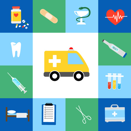 hypodermic: Set of medical flat icons including an ambulance  transport  pills  tablets  tooth  dentistry  injection  syringe  hypodermic  first aid kit  plaster  caduceus  test tubes  test kit  forceps and bed